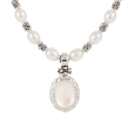 Michael Dawkins Sterling Cultured Pearl Necklace with Enhancer