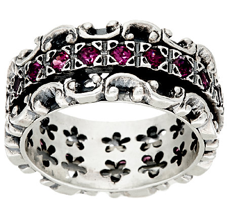 Or Paz Sterling Silver Lace 1.10cttw Gemstone Spinner Ring