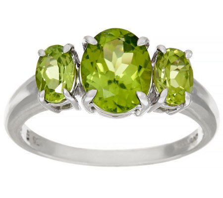 """As Is"" Peridot 3-Stone Sterling Silver Ring, 2.20 cttw"