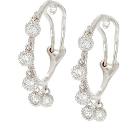 Judith Ripka Sterling 1.15 cttw Diamonique Hoop Earrings