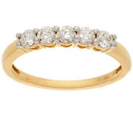 1/2 cttw 5 Stone Diamond Band Ring, 14K Gold, Affinity