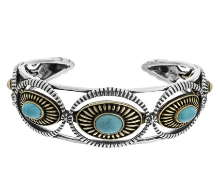 """As Is"" Sterling/Brass Turquoise Large Cuff by Fritz Casuse"