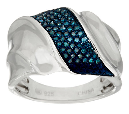 Pave' Colored Diamond Band Ring, Sterling 1/4 cttw by Affinity