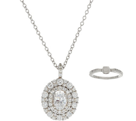 "Diamonique Convertible Ring & Pendant w/18"" Chain, Sterling"