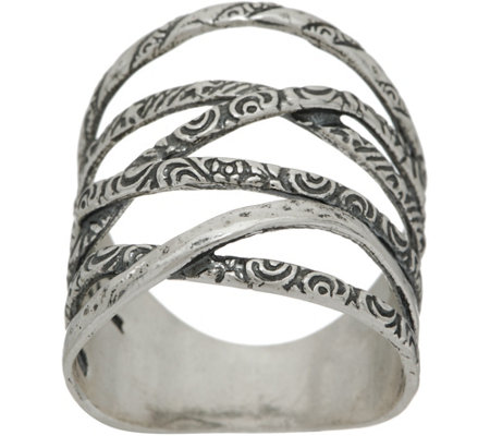 Or Paz Sterling Multi-texture Highway Ring
