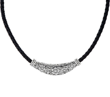JAI Carved Sterling and Braided Leather Necklace