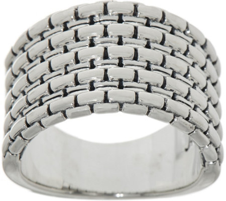 JAI Sterling Silver Box Chain Ring
