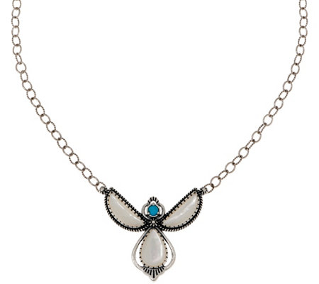 American West Sterling Silver Mother Of Pearl Angel Necklace
