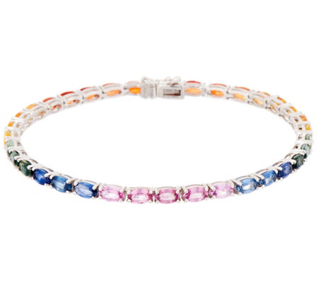 Colors of Sapphire Line Bracelet, 9.85 cttw, Sterling Silver