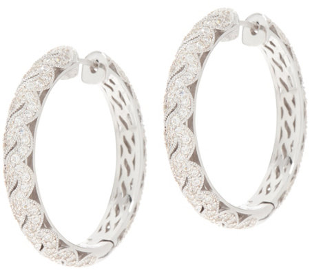 TOVA for Diamonique Milgrain Detail Hoop Earrings, Sterling