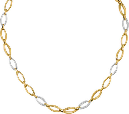 "Italian Gold Two-tone Oval Fancy Link 18""  Necklace 14K, 11.3"