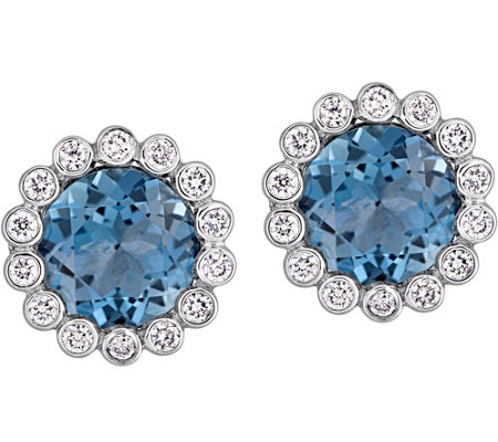 14K 3.15 cttw London Blue Topaz & 1/4 cttw Diamond Earrings