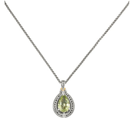 "Sterling & 14K Diamond & Green Quartz Pendant with 18"" Chain"