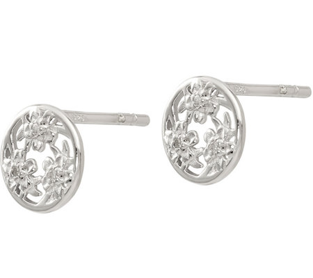 Sterling Diamond Accent Flower Post Earrings
