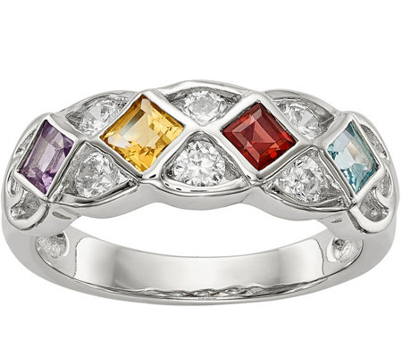 Sterling 0.60 cttw Gemstone & Crystal Ring