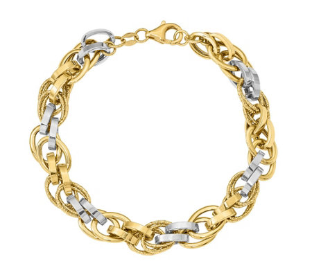 14K Two-Tone Polished Textured Oval Bracelet, 7.3g