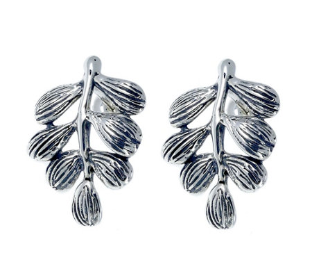 Hagit Sterling Branch & Leaf Earrings