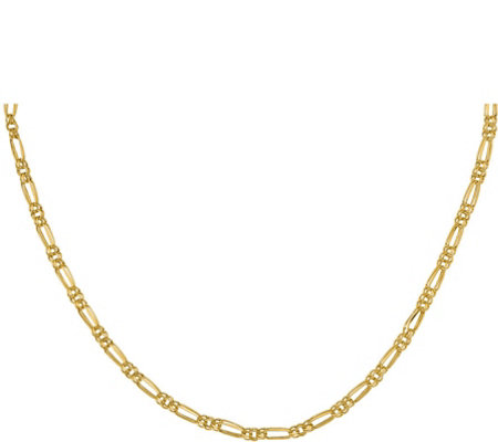 14K Double Oblong & Round Link Necklace, 2.8g