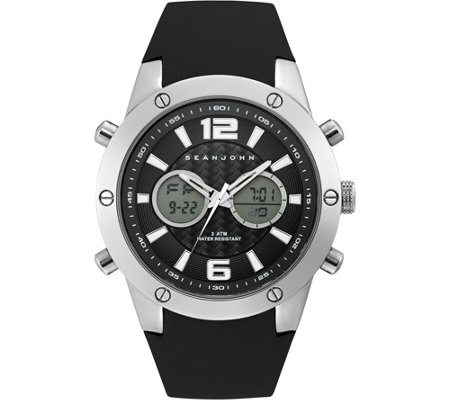 Sean John Men's Silvertone Analog Digital BlackSilicone Watch