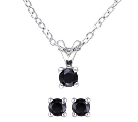 Affinity Sterling 1/2cttw Black Diamond Earrings & Pendant Se