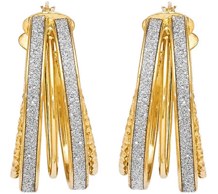 "Italian Gold 1"" Glimmer Hoop Earrings 14K, 4.3g"