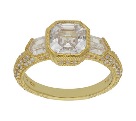 Judith Ripka 14K Clad 2.80 cttw Asscher-Cut Diamonique Ring