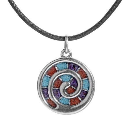 American West Sterling Gemstone Inlay Spiral Necklace