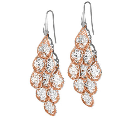 Italian Silver Two Tone Filigree Earrings