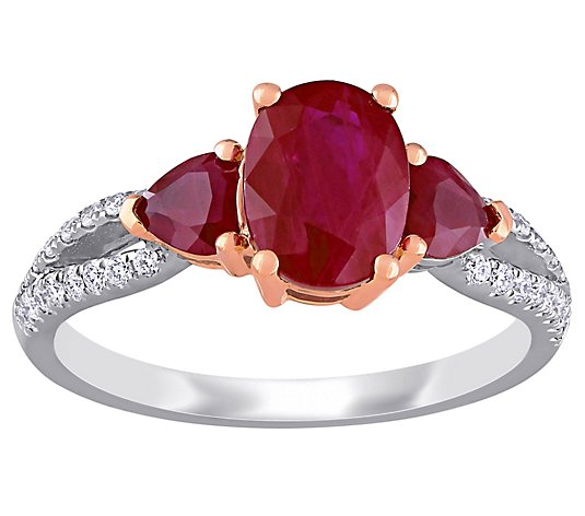 Bellini 2.55 cttw Ruby & 1/7 cttw Diamond 3-Stone Ring