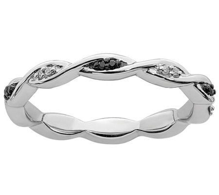 Simply Stacks Sterling Braided Black White Diamond Band