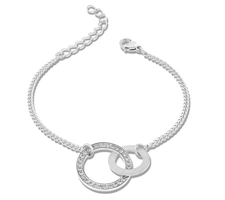 Steel by Design Open Circle Crystal AdjustableBracelet