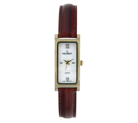 Peugeot Ladies' Brown Leather Strap Watch