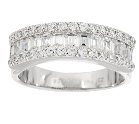 Diamonique Baguette Band Ring Platinum Clad Page 1 — QVC