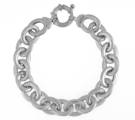 """As Is"" Italian Silver Sterling 8"" Rolo Link Bracelet, 20.5g"