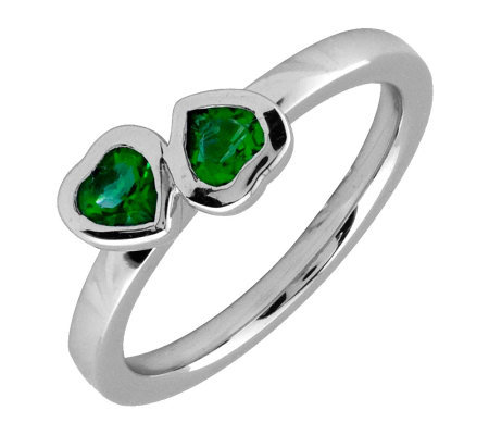 Simply Stacks Sterling & Created Emerald Double-Heart Ring