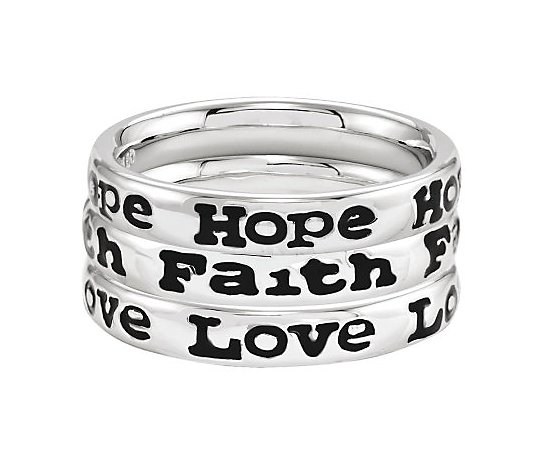 Simply Stacks Sterling Hope, Faith, and Love Ring Set