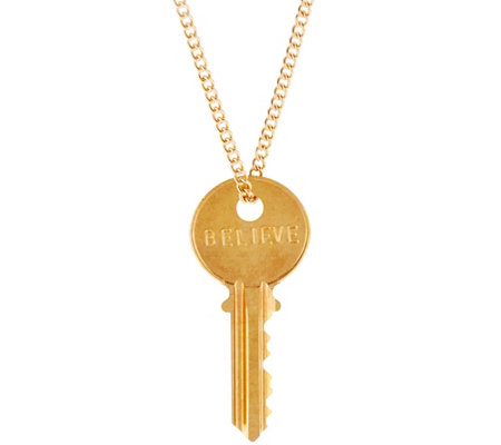 "The Giving Keys Goldtone 'BELIEVE' Key Pendant with 30"" Curb Chain"