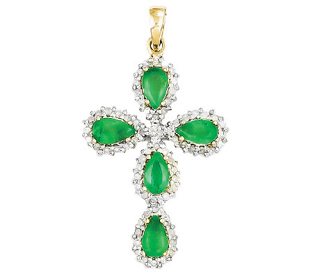 "0.90cttw Emerald & Diamond Accent Cross Pendant18"" Chain, 14K"