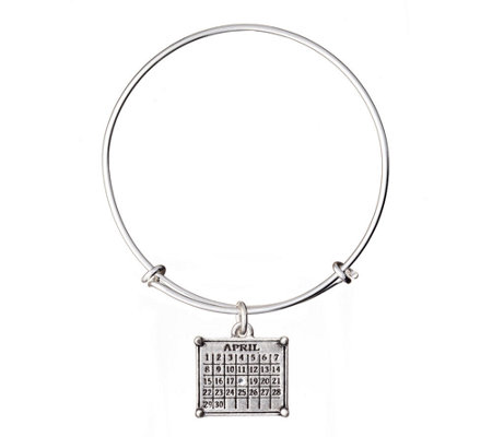 Personalized Silvertone Calendar Expandable Bangle