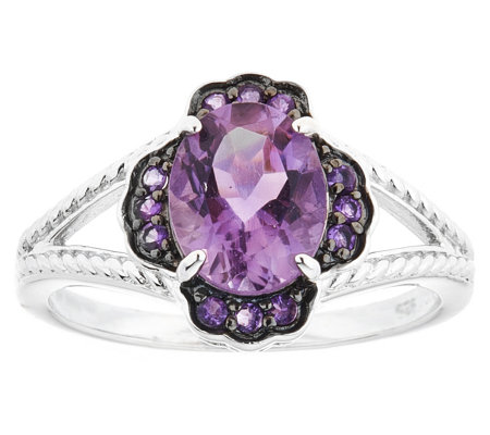 Sterling 1.75 cttw Amethyst Floral Ring
