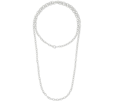 "Judith Ripka Verona Sterling Oval Link 52"" Necklace 40.5g"