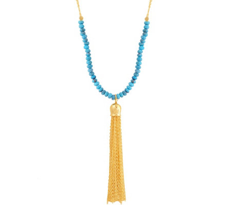 Turquoise Bead Tassel Necklace, Sterling