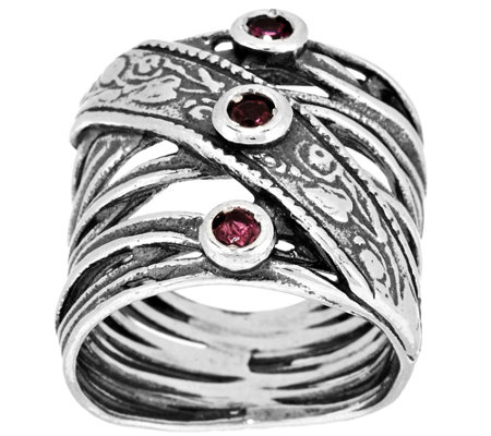 """As Is"" Or Paz Sterling Silver Pink Tourmaline Crossover Ring"
