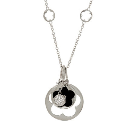 Lauren G Adams Silvertone Layered Flower Necklace