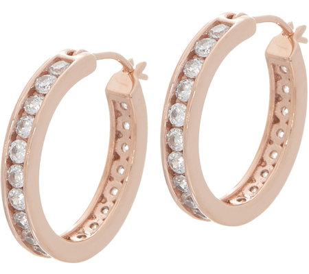 Diamonique Channel Set Hoop Earrings Sterling Or 14k Gold Clad