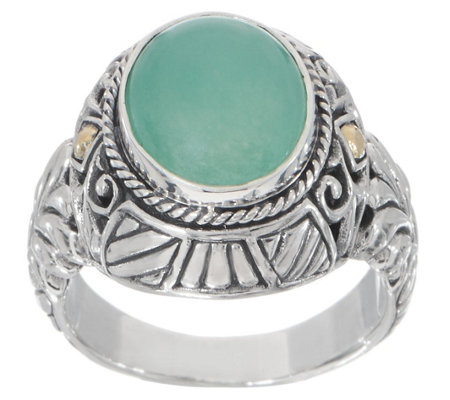 Artisan Crafted Sterling Silver 18k Gold Oval Quartzite Ring