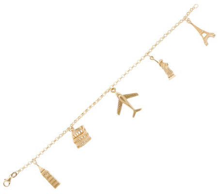 "Italian Gold 7-1/4"" Travel Charm Bracelet, 14K Gold, 10.4g"