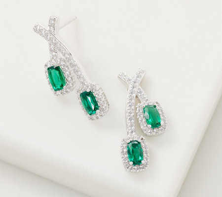 e67945b152a0a Diamonique Simulated Emerald Earrings, Sterling Silver — QVC.com