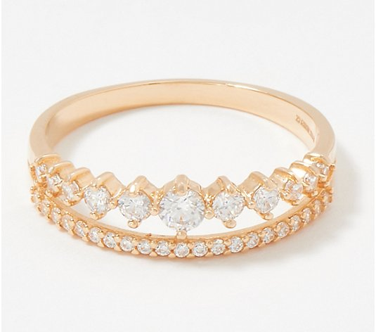 Diamonique Pave and Graduated Double Band Ring, 14K Gold