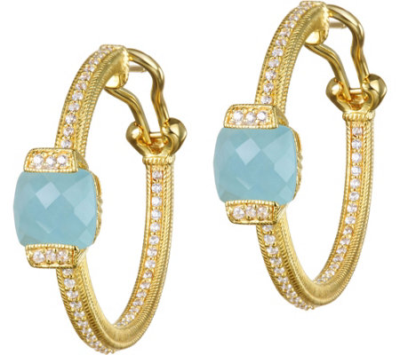 Judith Ripka 14K Clad Milky Aquamarine Hoop Earrings